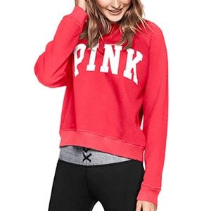 Pink Victoria's Secret Boyfriend Crew Red